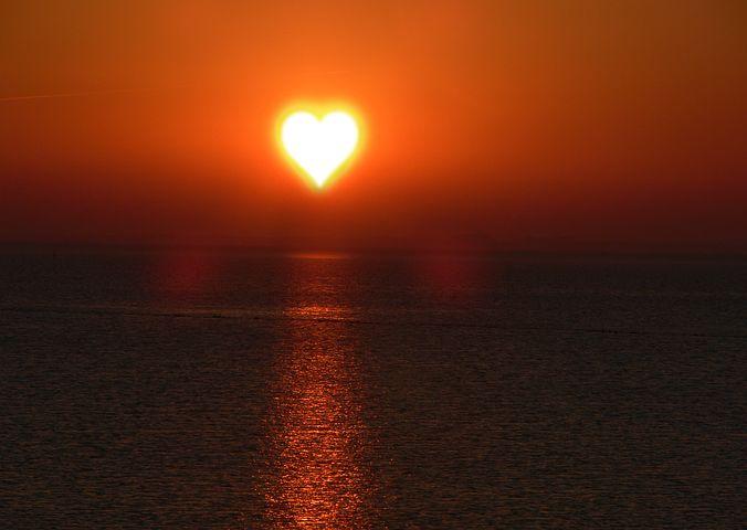 heart shaped sun set